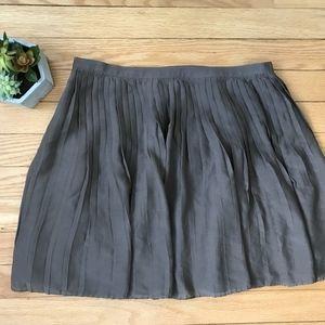 J. Crew Micro Pleat Mini Silk Full Skirt 4 Taupe